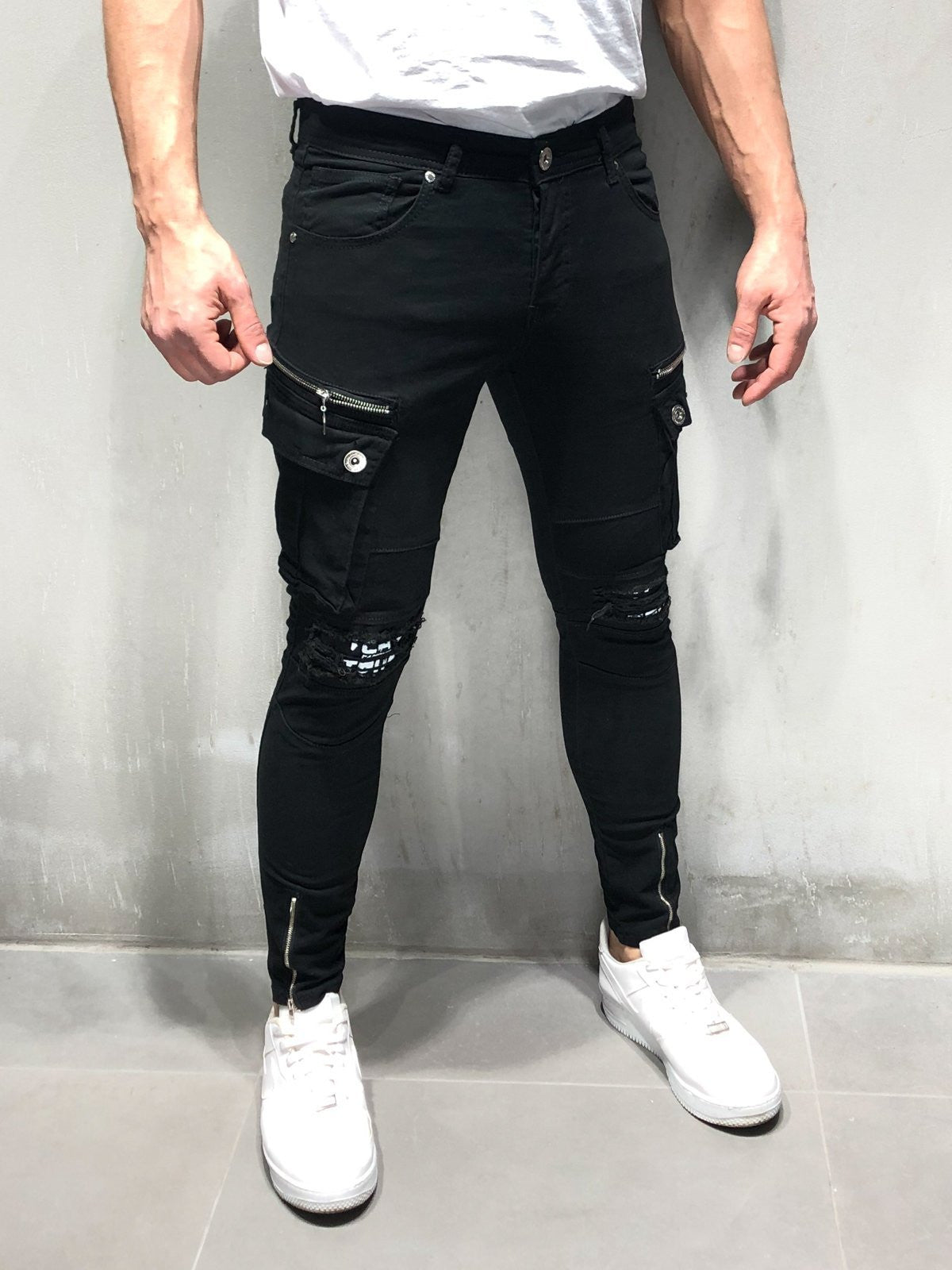 Black Cargo Jeans Ripped & Repaired Knee
