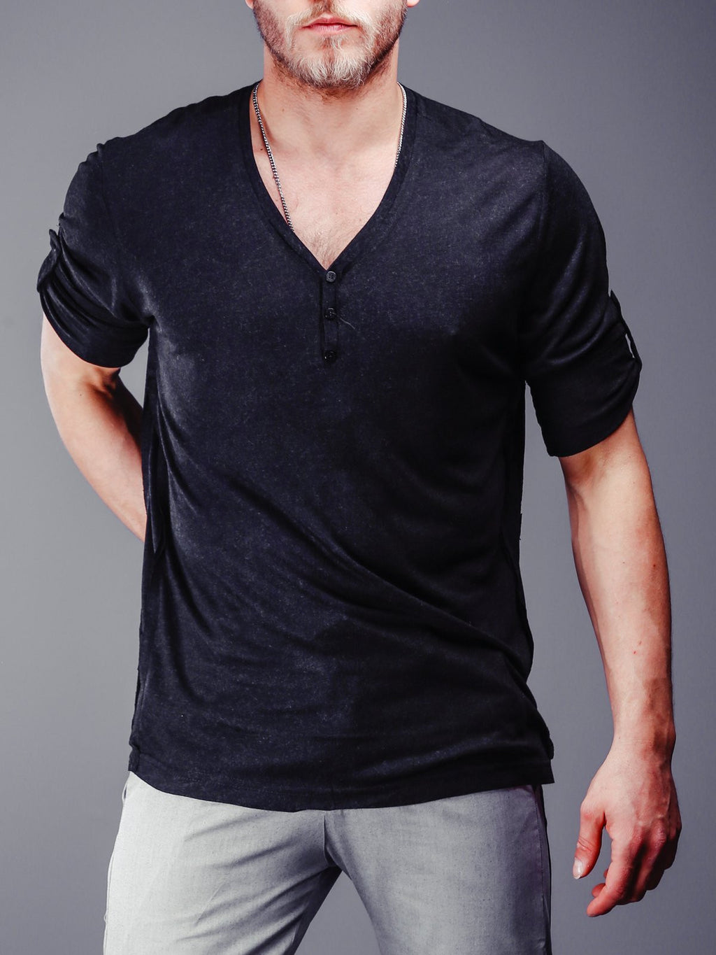 V-Neck T-Shirt Roll up Sleeves 4293