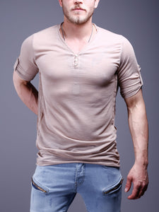 V-Neck T-Shirt Roll Up Sleeves 4294