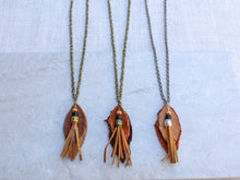 Load image into Gallery viewer, Leather Feather Necklace