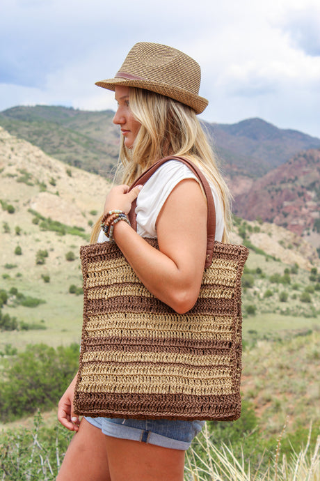 Handwoven Straw Market Tote