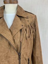 Load image into Gallery viewer, Suede Fringe Moto Jacket