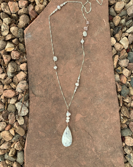 Moonstone Pearl Necklace