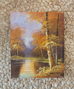 Vintage Autumn Lake Painting