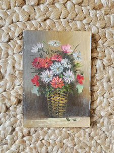 Vintage Flower Basket Painting