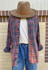 Vintage Grey Sunbleached Flannel #1