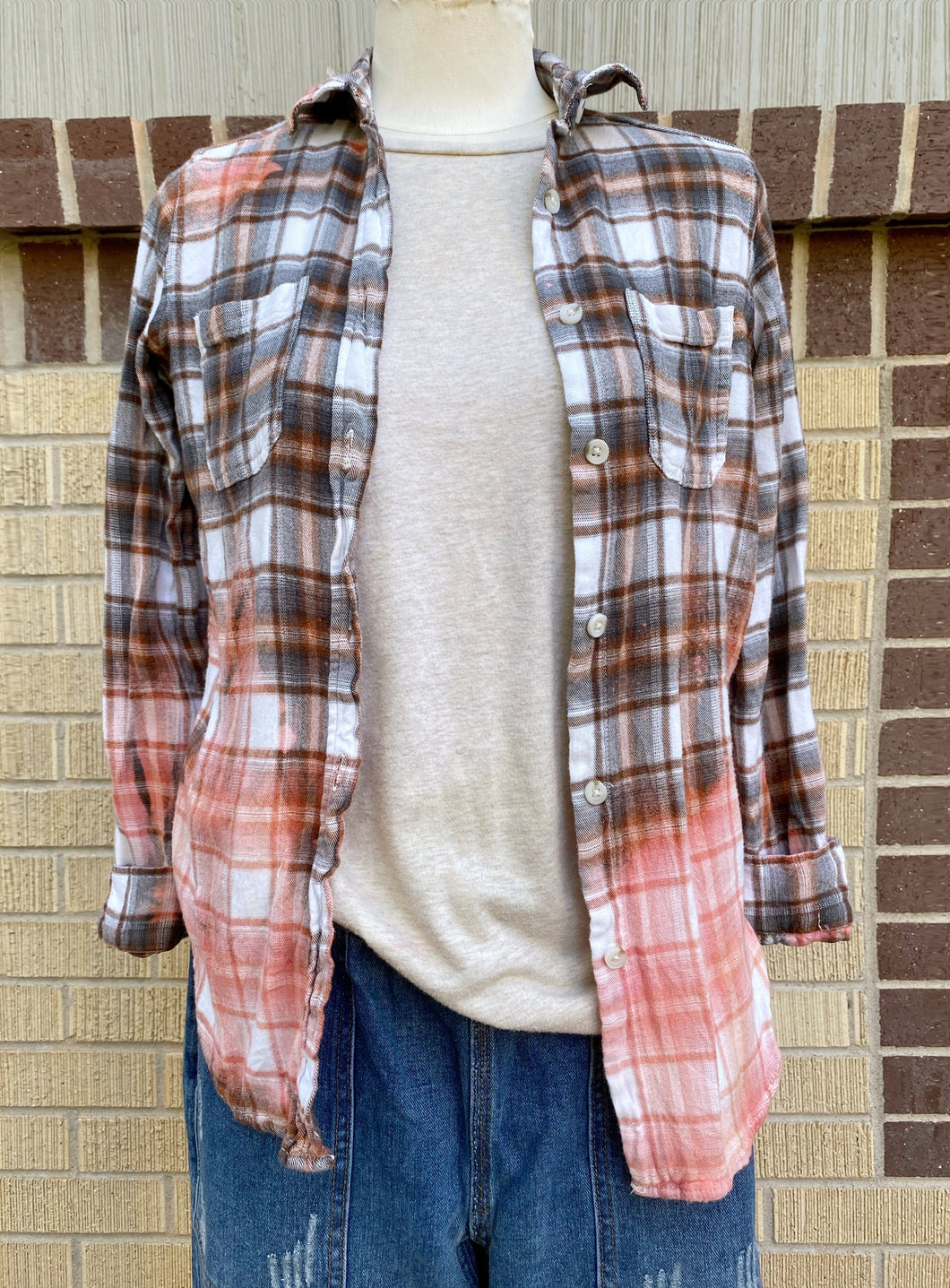Vintage Peach Sunbleached Flannel #1