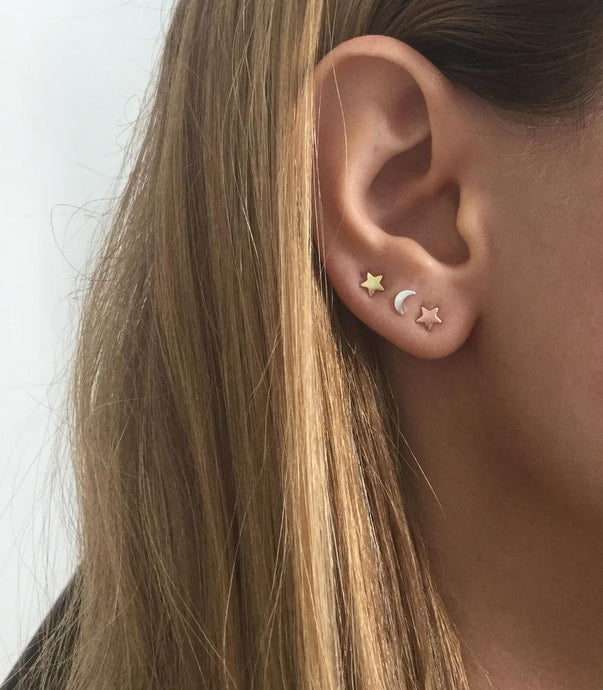 Moon/Star Stud Earring