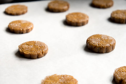 Art deco nut butter cookies, ready to be chilled (made with roasted toasted unsalted mixed nuts)