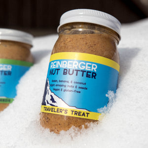 Traveler's Treat all natural nut butter with raisin, banana, and coconut from Reinberger Nut Butter.