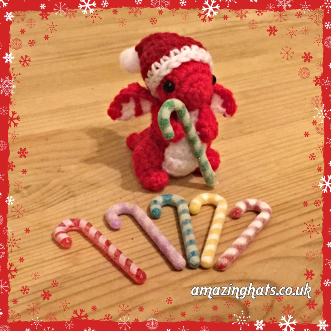 Tiny or Small Christmas Dragon w/ Candy Cane