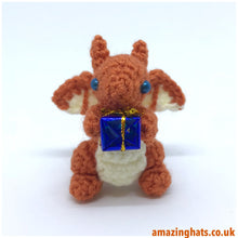 Load image into Gallery viewer, Tiny or Small Christmas Dragon w/ Present