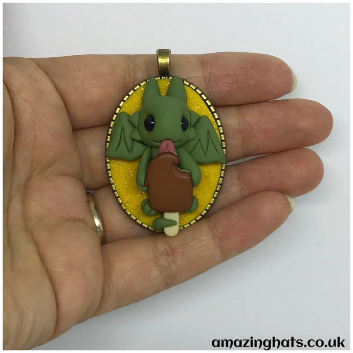 Chocolate Ice Lolly Dragon Pendant