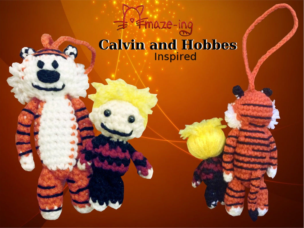 Calvin and Hobbes-Inspired Dolls/Car Dangle