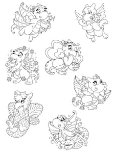 Digital Yarnuary Dragons Colouring Pack