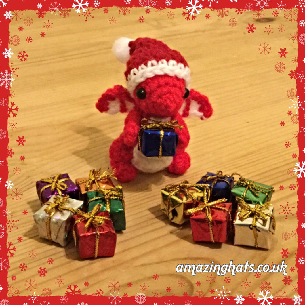 Tiny or Small Christmas Dragon w/ Present