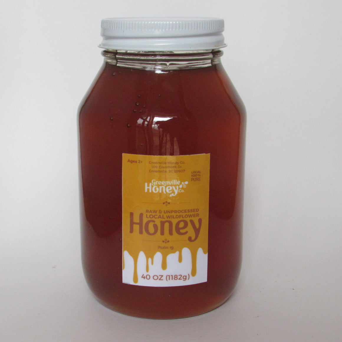 Wildflower-light, fruity taste; 40 oz. Jar - Local Greenville, SC Honey