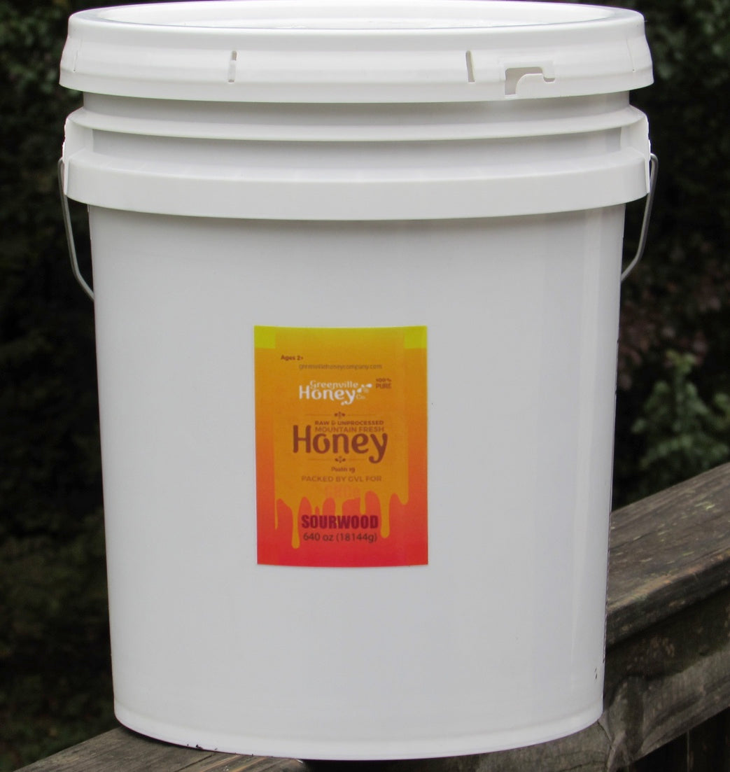 5 gallon pail sourwood honey 95% certified