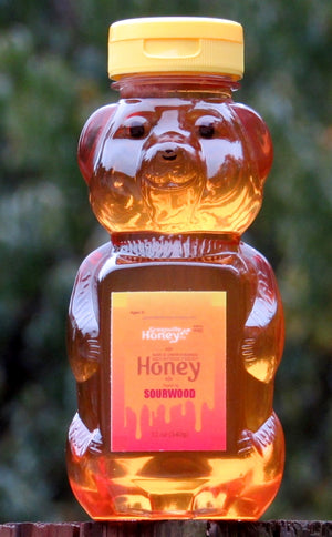 12 oz Sourwood Honey Bear 95% certified