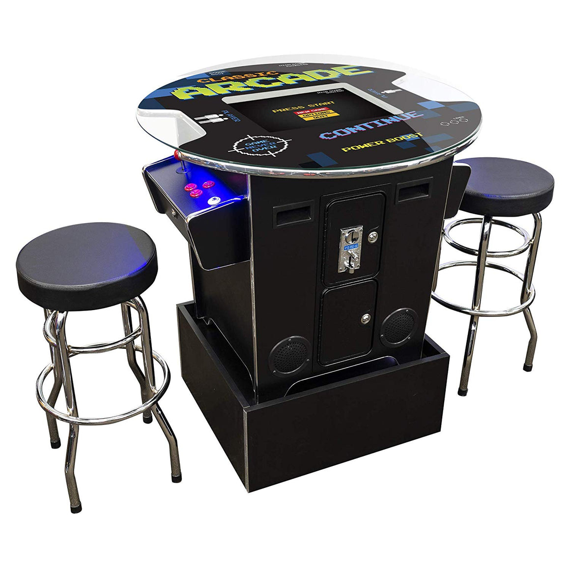 Cocktail Arcade Machine | Arcade Riser Included | Round Glass Top Creative Arcades