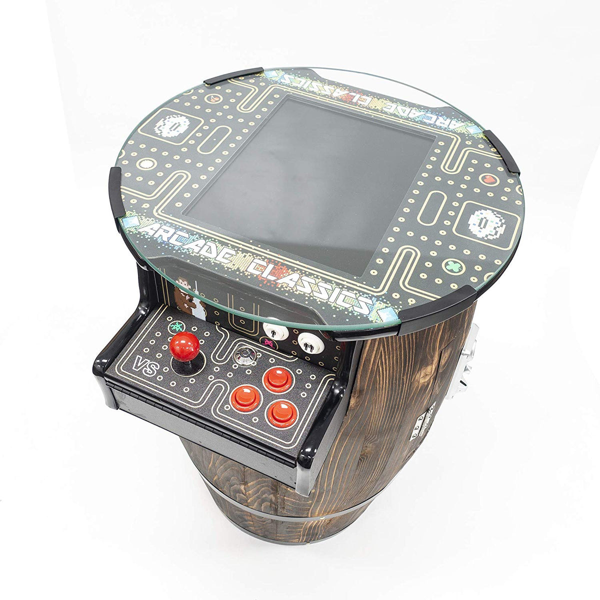 "2 Player 31.5""H Barrel Style Pub Table Arcade Machine with 15"" LCD Monitor and 2 Tall Stools Creative Arcades"