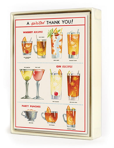 """Cheers!"" Whiskey Recipes Thank You Card Set"