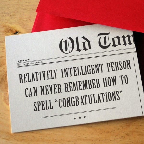 Newspaper Congratulations Card