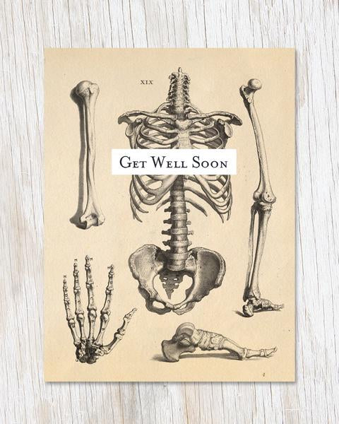 Get Well Soon Skeleton Card