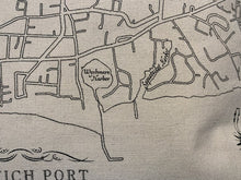 "Load image into Gallery viewer, Harwich Port Map Tea Towel (26"" x 26"")"