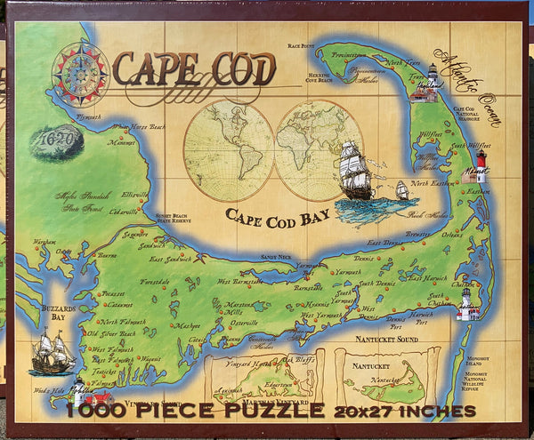 """Cape Cod Vintage Map"" Jigsaw Puzzle (1000 piece)"