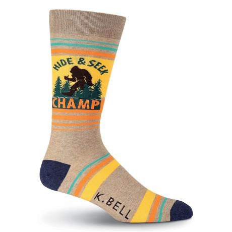"""Hide and Seek"" Bigfoot Men's Crew Socks"
