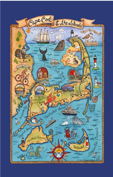 Cape Cod Islands Vintage Dishtowel