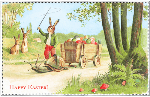 Rabbit Snail Cart - Easter Card