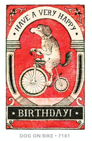 Dog Bicycle Happy Birthday Card