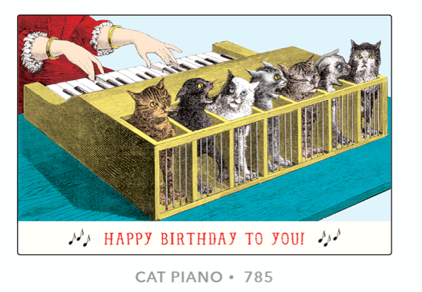 Cat Piano Happy Birthday Card