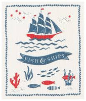 Fish and Ships Swedish Dish Cloth