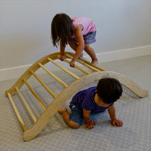 Load image into Gallery viewer, A girl climbs over the pikler arch, and her brother crawls underneath.  How versatile!