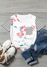 Load image into Gallery viewer, Floral Striped Pocket T-Shirt