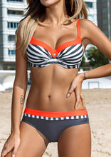 Load image into Gallery viewer, Striped Color Block Sexy Bikini Set