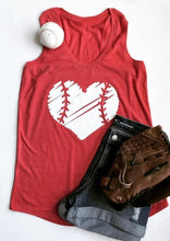 Load image into Gallery viewer, Baseball Heart O-Neck Tank