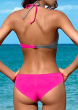 Load image into Gallery viewer, Color Block Halter Bikini Set