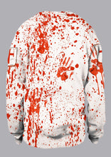 Load image into Gallery viewer, Halloween Unisex Blood Handprint Long Sleeve Sweatshirt