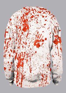 Halloween Unisex Blood Handprint Long Sleeve Sweatshirt