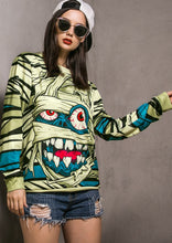 Load image into Gallery viewer, Halloween Unisex Mummy Printed Long Sleeve Sweatshirt