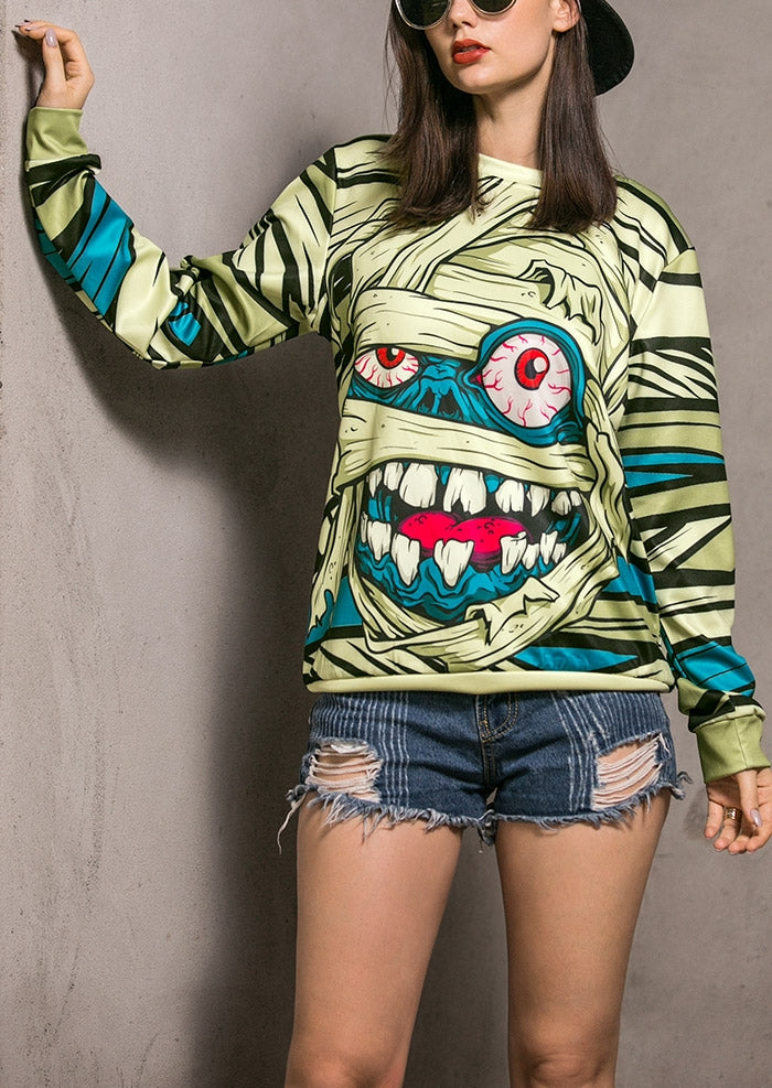 Halloween Unisex Mummy Printed Long Sleeve Sweatshirt