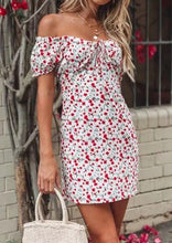 Load image into Gallery viewer, Floral Off Shoulder Mini Dress without Necklace