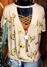 Load image into Gallery viewer, Steer Skull Sunflower Hollow Out Blouse without Necklace - Apricot