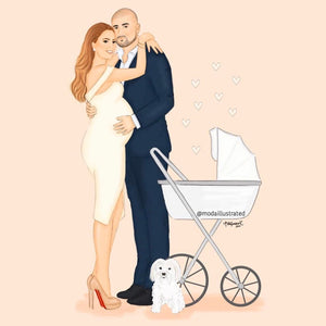 Baby Pregnancy Announcement Illustration