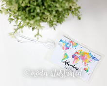 Load image into Gallery viewer, Personalized Luggage Tag, Custom Tag, Honeymoon Travel Tag, Luggage Tag Adventure, World Map, Group Travel, summer family trip, Fathers Day