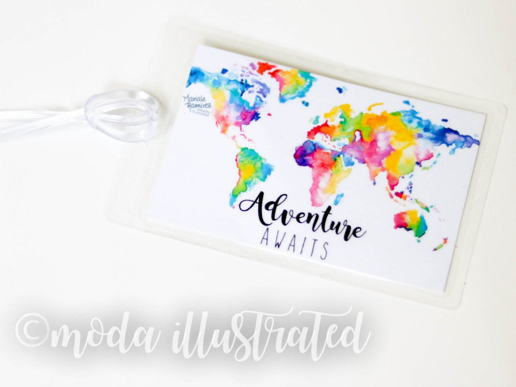 Personalized Luggage Tag, Custom Tag, Honeymoon Travel Tag, Luggage Tag Adventure, World Map, Group Travel, summer family trip, Fathers Day